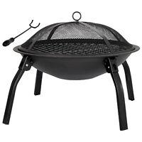 """22"""" Folding Fire Pit Outdoor Home Garden Backyard Firepit Bowl Fireplace"""