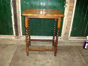 Old Vintage Antique Oak Scallop Edge Side Table with Barley Twist Legs