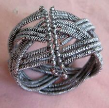 """Vintage Bangle Braided Silver Tone Wire Cuff Bracelet 2"""" wide Gift Boxed."""