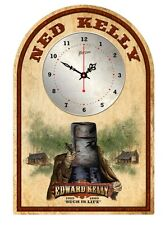 NED KELLY  RUSTIC TIN SIGN CLOCK 'Such is Life'