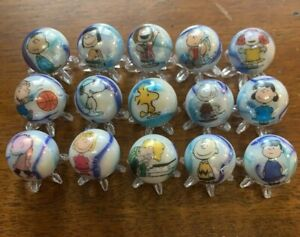 PEANUTS GANG - Charlie Brown, Snoopy, Lucy  ect.  5/8 size marbles & stands