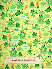 Green Frog Toad Cattail Cotton Fabric Yard Timeless Treasures ORGANIC OC 2957