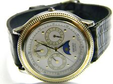 mens Seiko triple calendar day date month moonphase dress watch model# 5Y88-6009