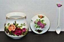 NEW IN BOX Royal Albert Old Country Roses Jam Jar With Spoon