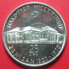 1970 TURKEY 25 LIRA SILVER ANKARA ASSEMBLY 50th ANNIVERSARY TURKISH COIN 32mm