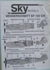 Skymodels 1/48 48011 Messerschmitt Bf109G/K  decal set