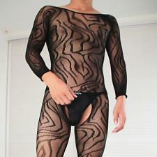 Mens Body Fishnet Bodystocking Crossdresser Gay Pantyhose Bodysuit Mesh Overall