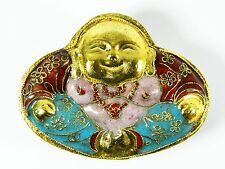 Vintage Brown Cloisonne Copper Enamel Big Belly Buddha Trinket Jewelry Box Case
