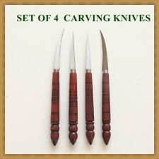 Set of 4 Carving Knives Fruit Vegetable Cutlery Carver Wood Handle Round-Shaped