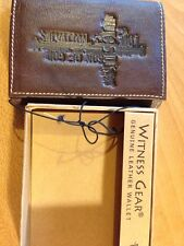 Wallet Genuine Leather-Cross / Salvation Jesus Son Of God - Brown Trifold