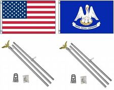 3x5 Usa American & State of Louisiana Flag & 2 Aluminum Pole Kit Sets 3'x5'