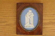 Antique Wedgwood Jasper Ware Urania Plaque in Brass-Framed Wood Panel (c.1820)