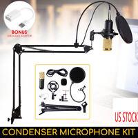 BM-800 Condenser Microphone Studio Recording Mic W/ Stand Shock Mount USA