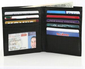 Black Genuine Leather Men's Hipster Bifold Wallet European Card Holder