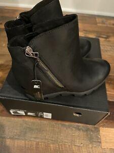 Sorel Joan of Arc Black Suede Waterproof Wedge II Chelsea Boots 8
