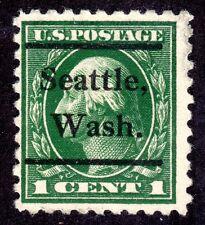 US # 424 (1913) 1c Used, FVF Washington 'Seattle Washington' Precancel