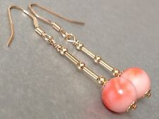 Vintage Round Angel Skin Coral 14ct Rolled Gold Drop Earrings