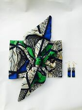 African Print Headband Retro Head Wrap and Earrings Set Ankara