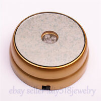 3D Round Crystal Glass Paperweight Stand Base with 3 LED Colourful Light -Golden