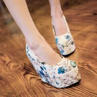 Womens Floral Round Toe Wedge High Heels Platform Slip On Shoes Party Pumps Prom