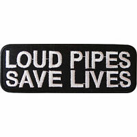 Loud Pipes Save Lives Biker Iron On Patch Sew On Bag Badge Motorcycle Motorbike