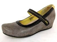 Jambu Women's Taupe Nubuck MUSE Mary Jane Pumps w Hidden Wedge Heel - Size 8