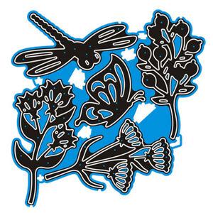Butterfly Dragonfly Flower Metal Cutting Dies Stencils Scrapbooking Album Crafts