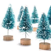 Xmas Day 12pcs Mini Sisal Bottle Brush Christmas Trees Snow Frost Village Putz