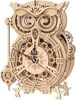 Rokr 3D Wooden Puzzle Owl Clock Assembly Model Building Kit Toy Desk Clock Decor