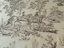 Antique Vintage French Toile de Jouy  Copper Printed Fabric Cotton 1910 Hunting