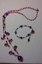 Jewelry Set Handbeaded Necklace/Bracelet Red Violet/Red Rasp Swarovski/Acrylic
