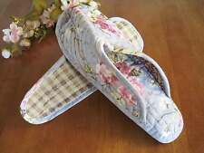 Pretty Blue Pink Rose Cotton Quilted Soft Flat Shoes Slippers A58