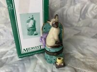 Siamese Cat Midwest of Cannon Falls Porcelain hinged Trinket Box vintage