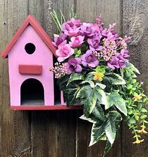Hand Painted Bird Box With Artificial Flowers