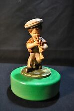 Rare Vintage Anri Reuge Music Box Boy with Lute Wooden Figurine Hand Painted
