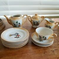 Vintage Disney Micky Mouse  Child's Tea Set - Incomplete Set 14 Pieces. Japan