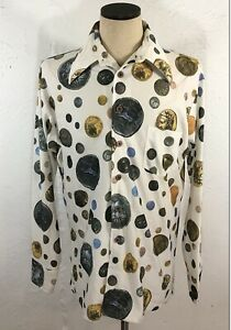 Vtg 60s 70s Mens XL Disco Shirt All Over Print Hippy Butterfly Collar Midcentury