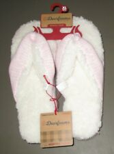 DEARFOAMS~XL (11-12)~Pink Stripe Memory Foam Indoor/Outdoor Thong Slippers