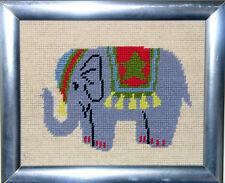 needlepoint framed elephant 11.5 in x 9.5 in