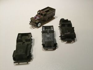 1960s 3 Tootsie Toy military Jeeps & 2000s Armored Truck