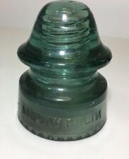McLAUGHLIN No. 20 VTG GLASS INSULATOR Rare BACKWARDS 'N' - Blue Green (inv5)