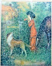 Vintage Pastime Picture Puzzle Wooden Jigsaw Puzzle.
