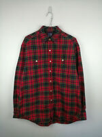 VINTAGE 90S MENS FLANNEL SHIRT GAP SIZE M RED CHECK LONG SLEEVE 100% COTTON TOP