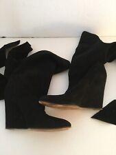 Chloe Black Suede Wrap Around Wedge Boots SZ 40.5 US 8.5-9