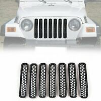 Honeycomb Mesh Front Grill Inserts Kit fit Jeep Wrangler TJ Unlimited 1997-2006