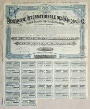 Compagnie Internationale des Wagons Lits 1927 TB Action illustrée 100 Francs