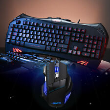 ARES K5 7 Backlits Gaming Keyboard UK Layout and Wired Mouse Mice Bundles Combo