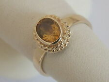 9ct 9CARAT YELLOW GOLD OVAL CITRINE SOLITAIRE RING, SIZE O 1/2, 3.6 Grams