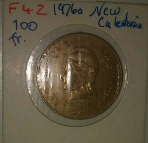 1976 (a) New Caledonia 100 Francs Nickel-Bronze Coin KM-15, Nice XF CONDITION !!