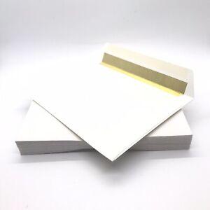 25x White Gold Foil Lined Slimline Envelopes ~ For Weddings Invitations Greeting